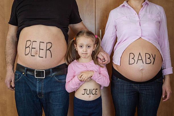 Retrato de familia de estómago - foto de stock