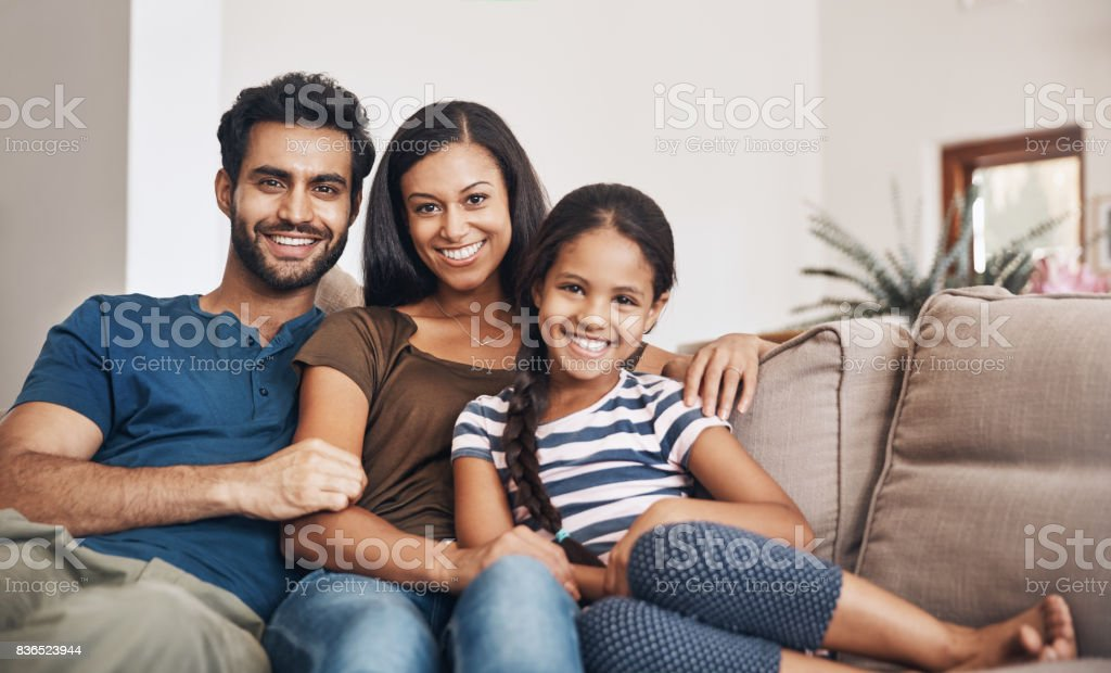 Family turns a house into a home stock photo