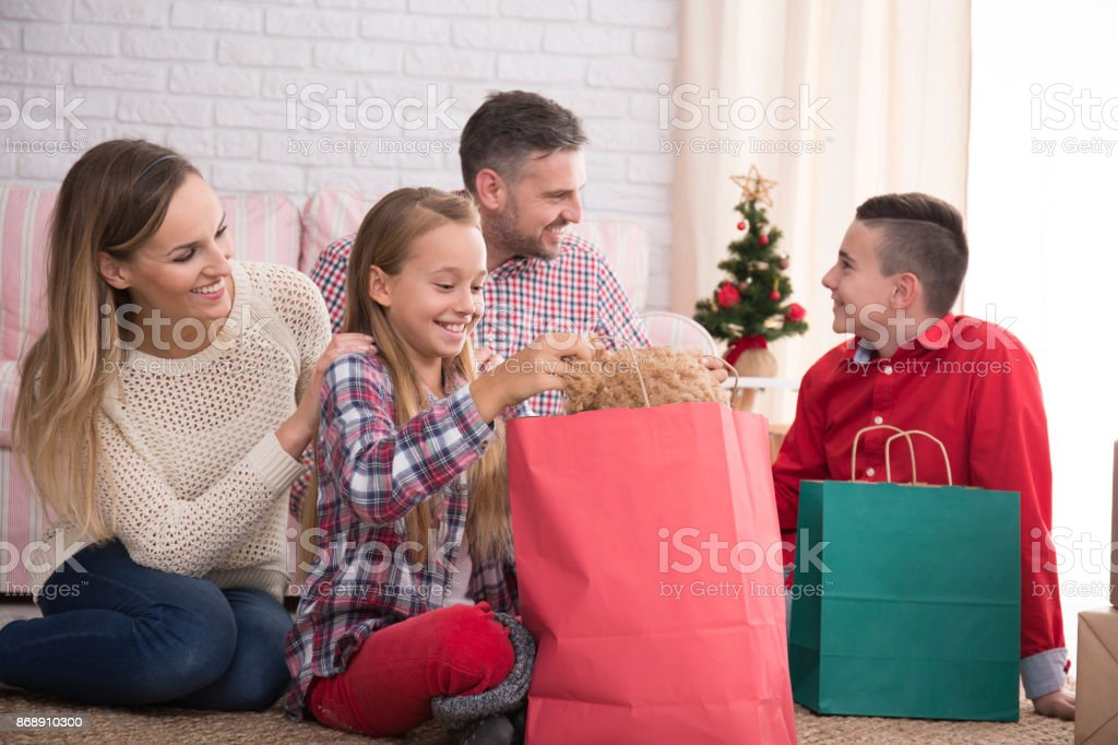 Family unpacking the gifts stock photo