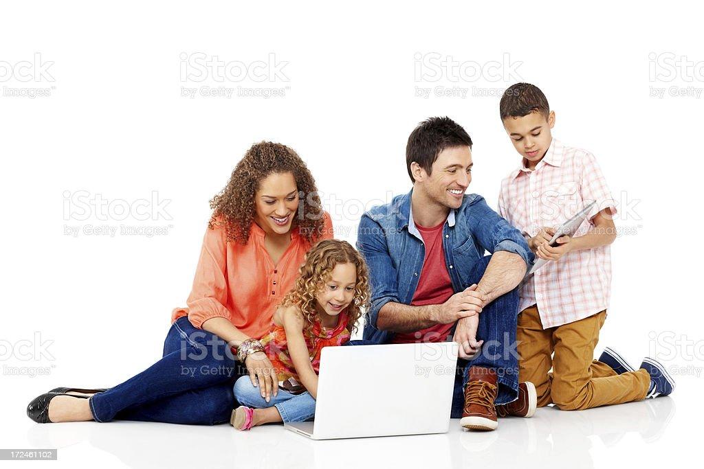 Family using modern technology royalty-free stock photo
