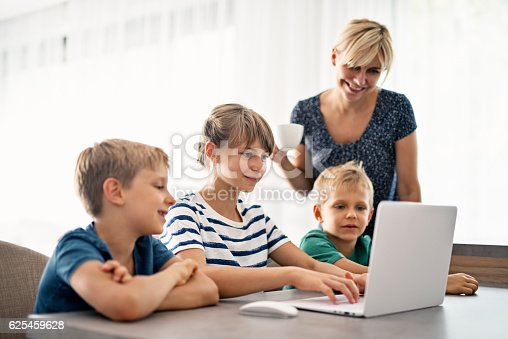 istock Family using modern ultrabook computer 625459628