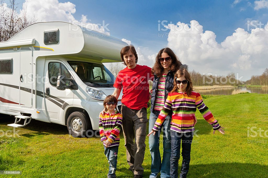 Family vacation in camping, camper trip royalty-free stock photo