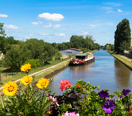 Canal view:  With the rented houseboat on the Rhine-Marne Canal, Saverne Alsace France