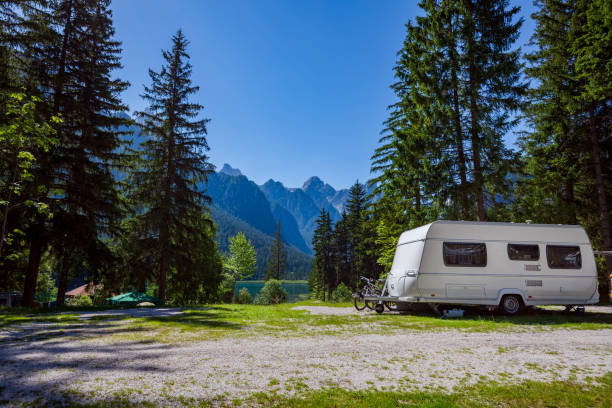 family vacation travel, holiday trip in motorhome - camping imagens e fotografias de stock