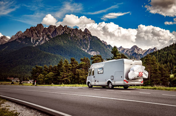 family vacation travel, holiday trip in motorhome - motorhome stock photos and pictures