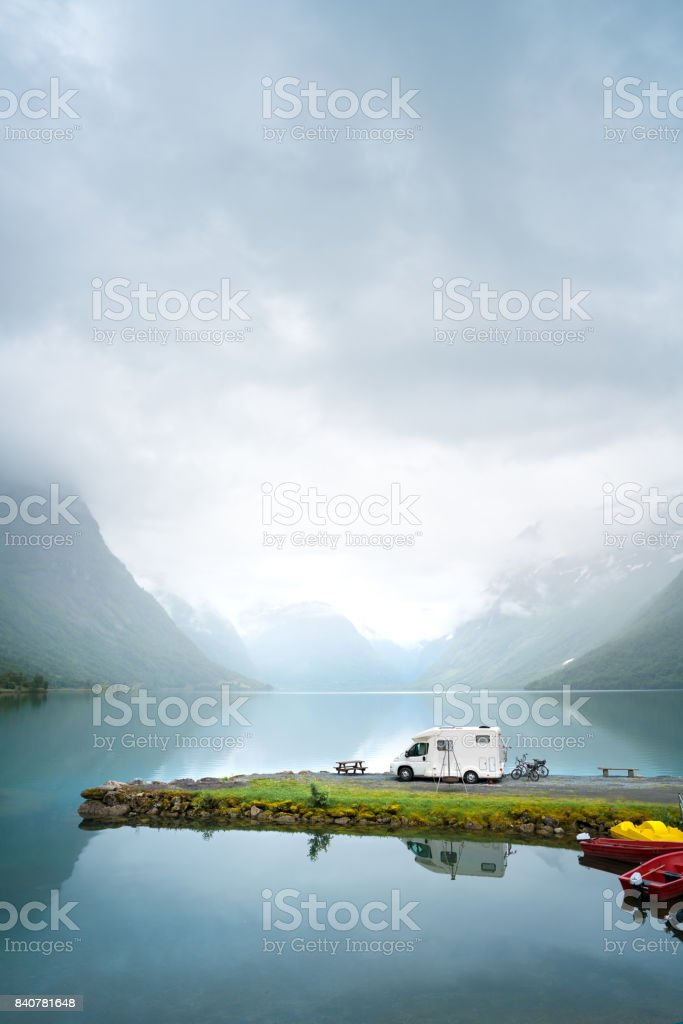 Family vacation travel, holiday trip in motorhome stock photo