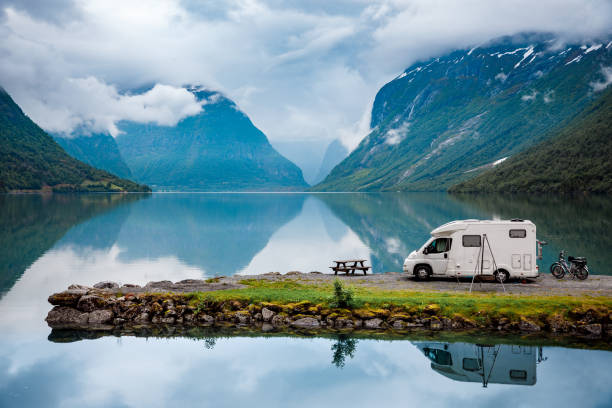 family vacation travel rv, holiday trip in motorhome, caravan car vacation. beautiful nature norway natural landscape. - camping stock photos and pictures