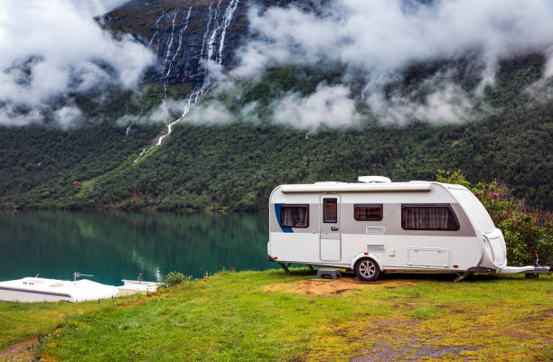 Family vacation travel RV, holiday trip in motorhome stock photo