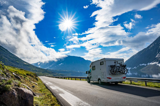 family vacation travel rv, holiday trip in motorhome - road trip стоковые фото и изображения