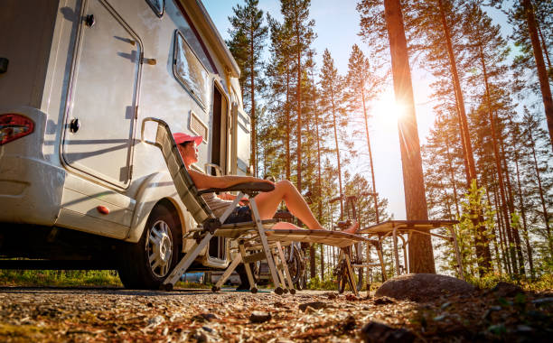 family vacation travel rv, holiday trip in motorhome - camping imagens e fotografias de stock