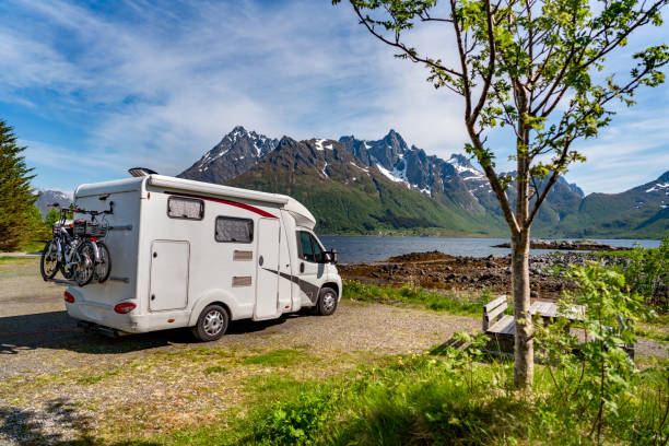 Family vacation travel RV, holiday trip in motorhome Family vacation travel RV, holiday trip in motorhome, Caravan car Vacation. Beautiful Nature Norway natural landscape. motor home stock pictures, royalty-free photos & images
