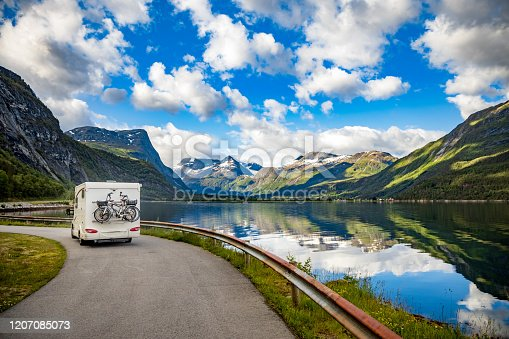 istock Family vacation travel RV, holiday trip in motorhome 1207085073