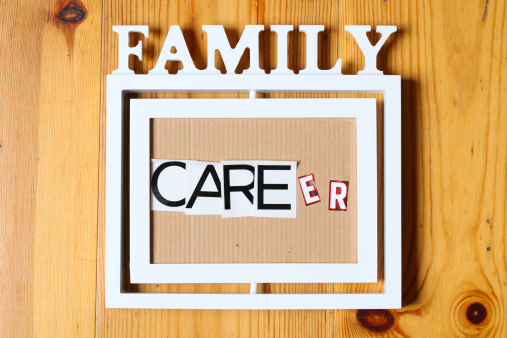 Picture frame with family text on top and the words care - career within the frame