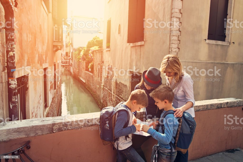 Family visiting Venice, Italy stock photo