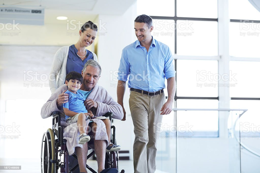 Family visits are important to a patient's recovery stock photo