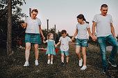 istock Family walk in a blackberry field 1265306265