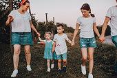 istock Family walk in a blackberry field 1265307056