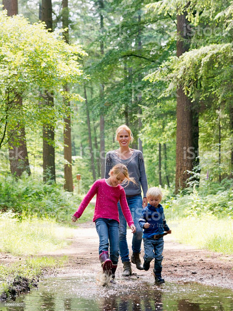 Family walk in the woods royalty-free stock photo
