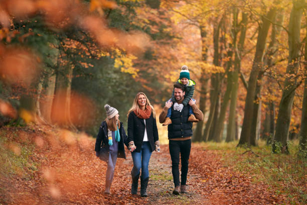 Family Walking Along Autumn Woodland Path With Father Carrying Son On Shoulders stock photo