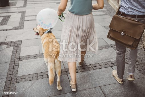 Couple on city street.They holding hands and walking dog. Woman holding baloon. They are in smart casual clothing.