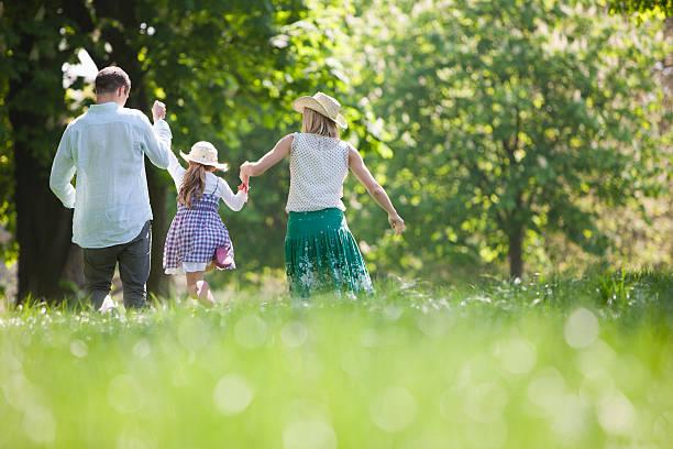 Familie gehen hand in hand im park – Foto