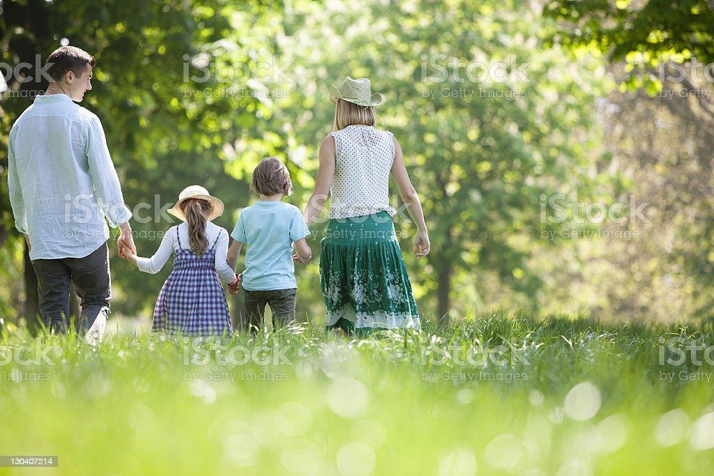 Family walking in field of flowers stock photo
