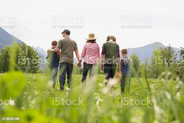 Photo of Family walking in field
