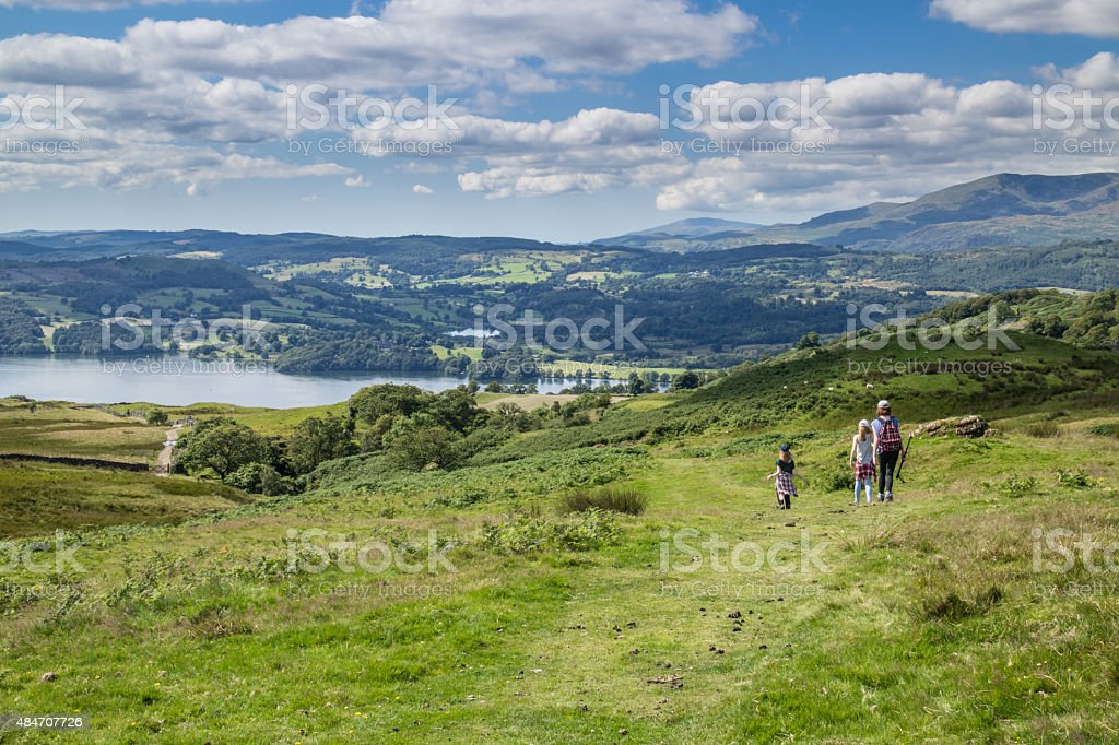 Family walking in the Lake district stock photo