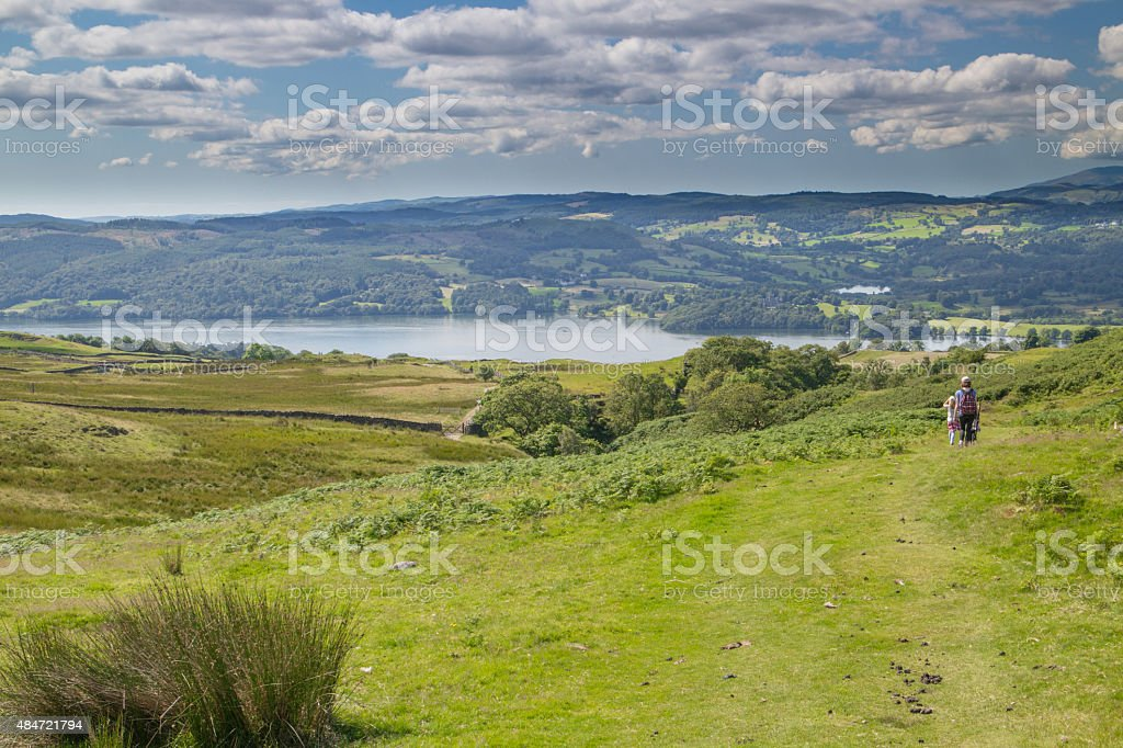 Family walking in the Lake district. stock photo