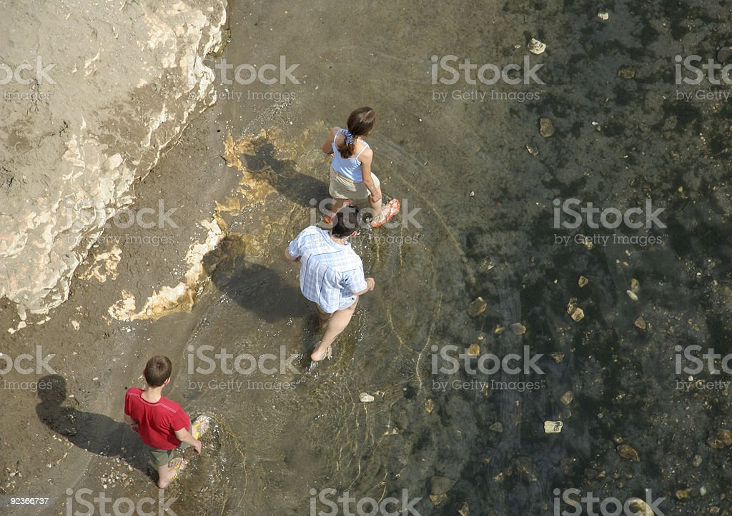 Family Walking in water royalty-free stock photo