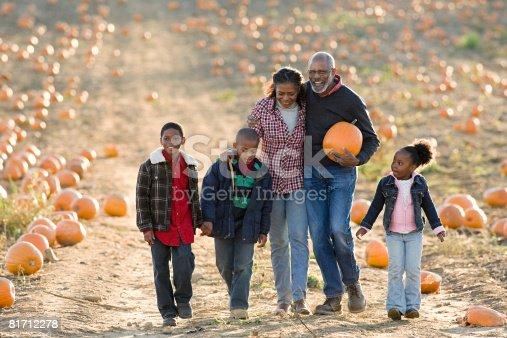 81711567 istock photo A family walking through a field of pumpkins 81712278