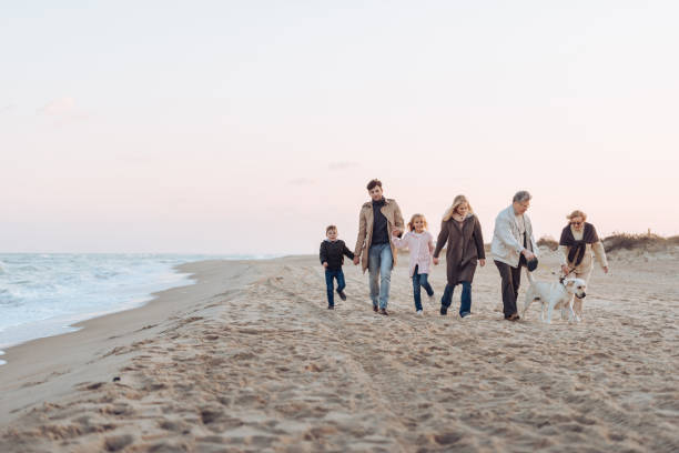 family walking with dog at seaside - multi generation family stock photos and pictures