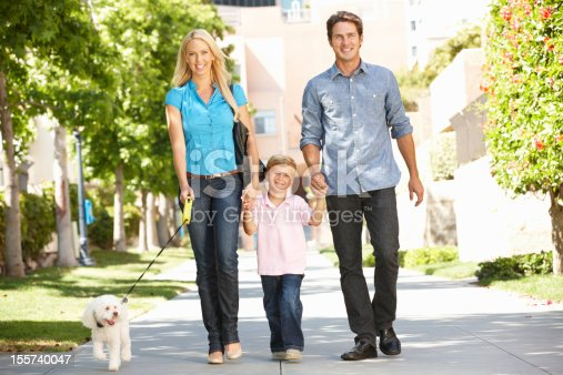 istock Family walking with dog in city street 155740047