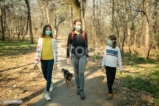 Mother with her children walking in public park with their mixed breed dog in time of corona virus outbreak. They wear protective mask and keeping social distance with other people as a prevention for spreading disease.