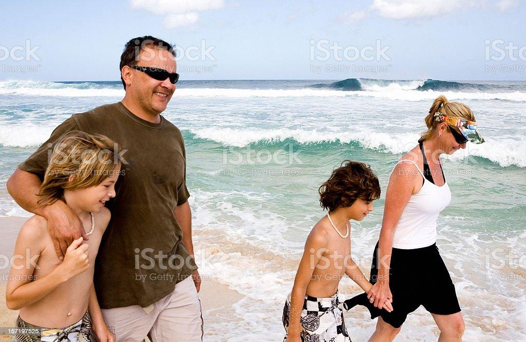 Family Walks On The Beach royalty-free stock photo