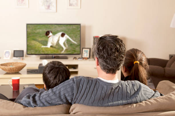 familia viendo tv - family watching tv fotografías e imágenes de stock