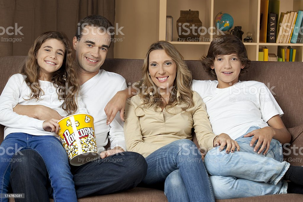 Family Watching Television royalty-free stock photo