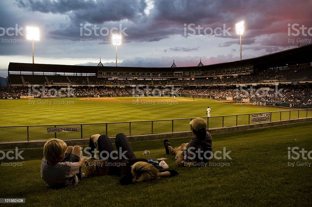 Family Watching the Ball Game royalty-free stock photo
