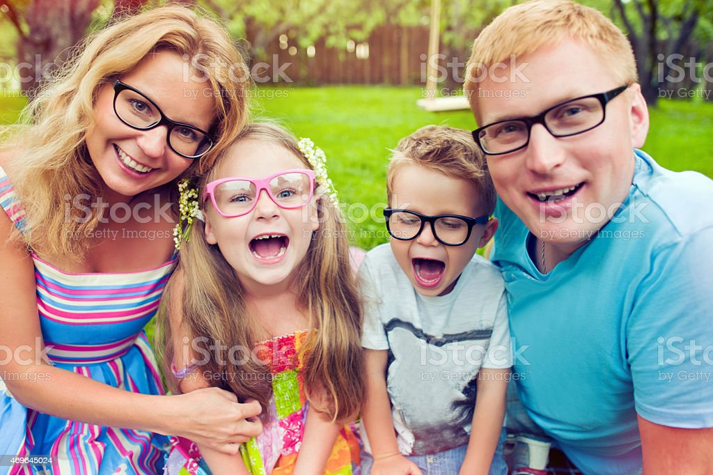 Family wearing glasses stock photo