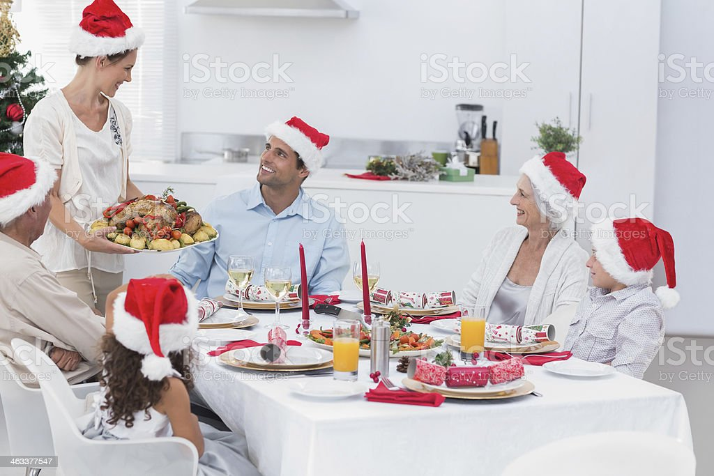 Family wearing santa hats royalty-free stock photo