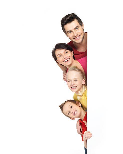 familie mit einem banner - sprüche kinderlachen stock-fotos und bilder