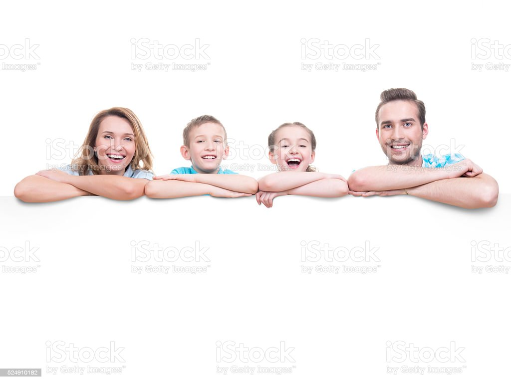 Family with a banner stock photo