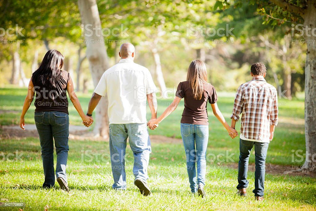 Family with an African American Father and Guatemalan Mother stock photo