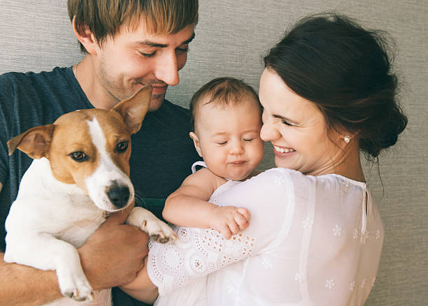 family with baby and pet dog - geburt fotos stock-fotos und bilder