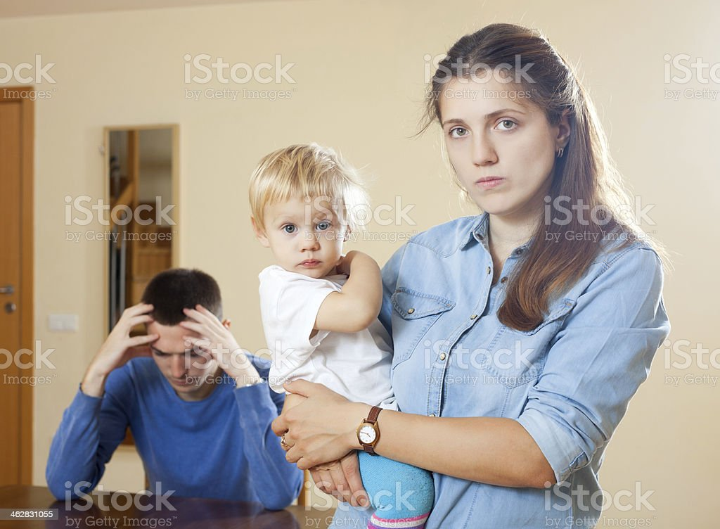 Family  with child having conflict stock photo