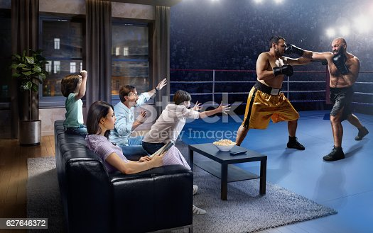 :biggrin:Father and two young children cheering and watching boxing game on TV.  They are sitting on a sofa in the modern living room faced to a boxing arena instead of the front wall.