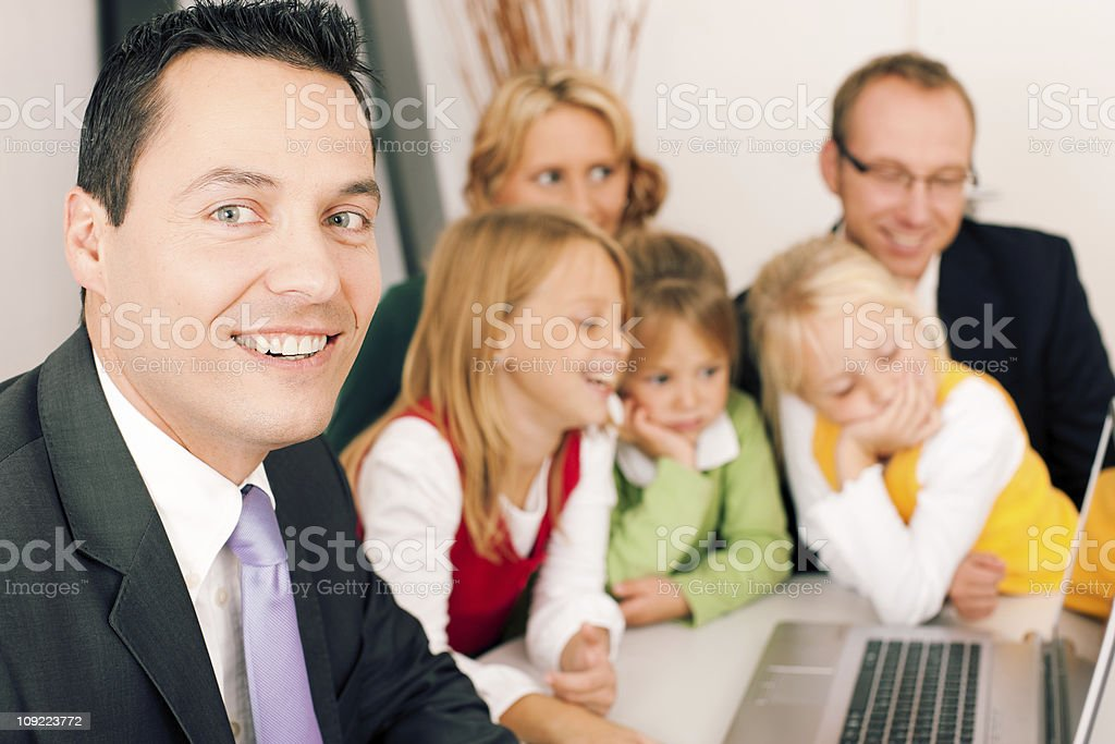 Family with consultant - finance and insurance royalty-free stock photo