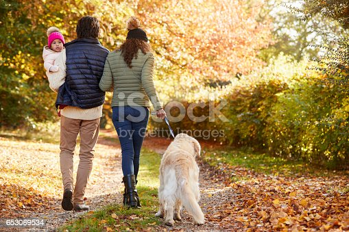 628820352 istock photo Family With Daughter And Dog Enjoy Autumn Countryside Walk 653069534