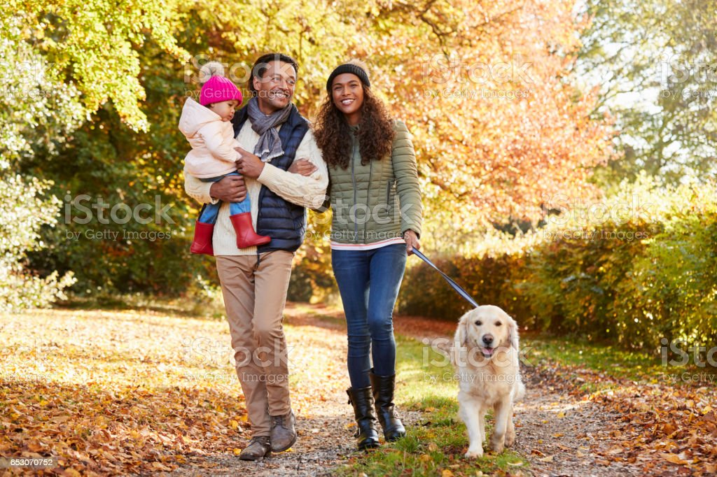 Family With Daughter And Dog Enjoy Autumn Countryside Walk stock photo