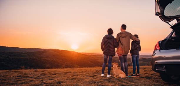 Family with dog embracing at hill and looking at sunset Family with small yellow dog embracing at hill and looking at sunset car stock pictures, royalty-free photos & images